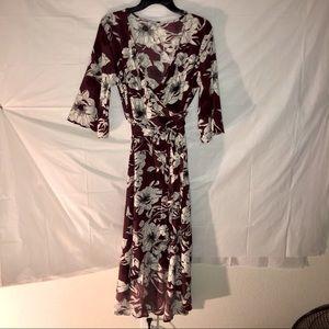 Meaneor Deep Red/Burgundy Floral Wrap Dress Sz XL